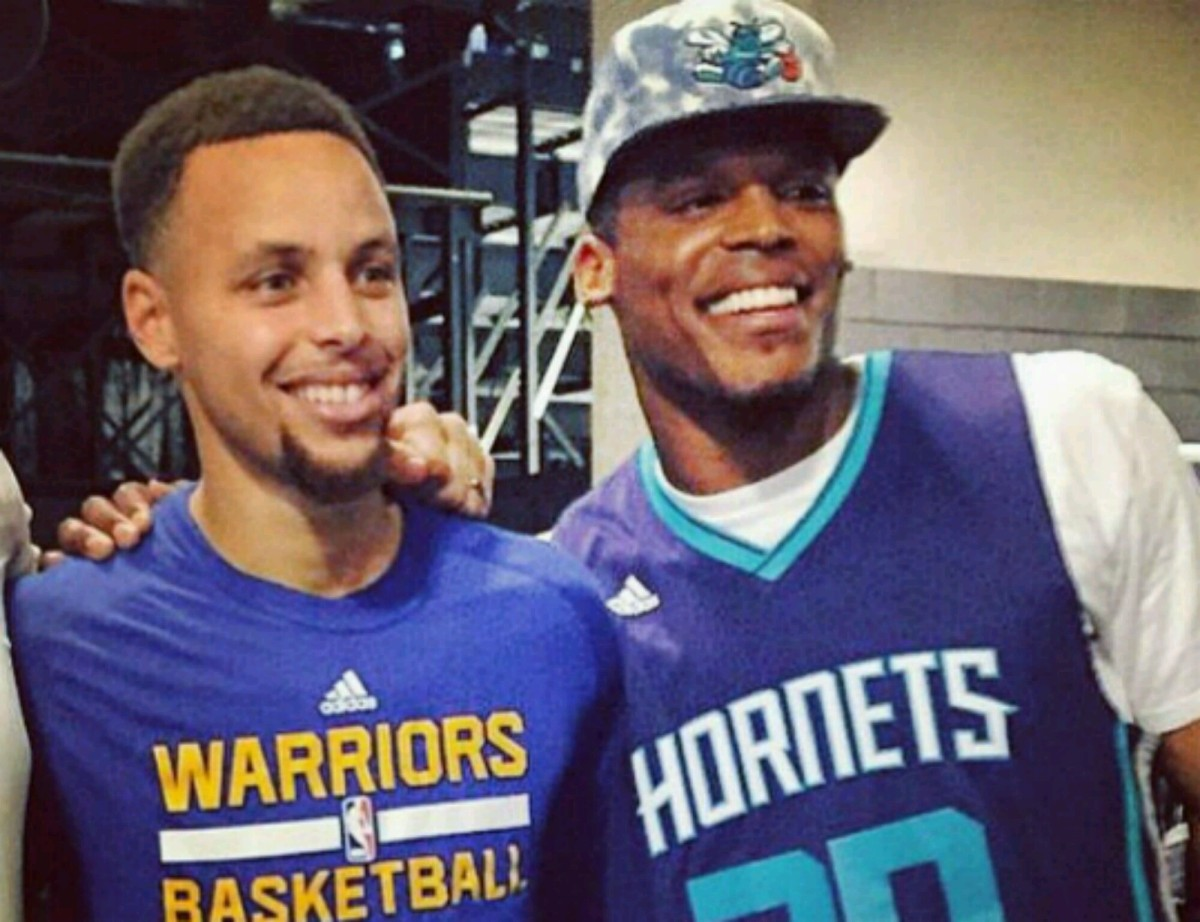 Cam Newton, Steph Curry & J. Cole Hang Out After Warriors/Hornets Game