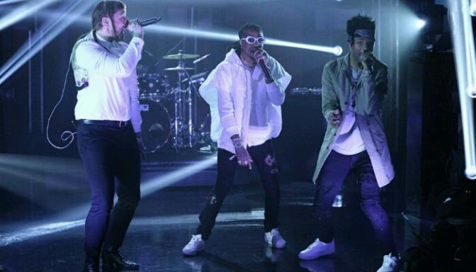 """Post Malone, Quavo & Metro Boomin Perform """"Congratulations"""" on Late Night"""