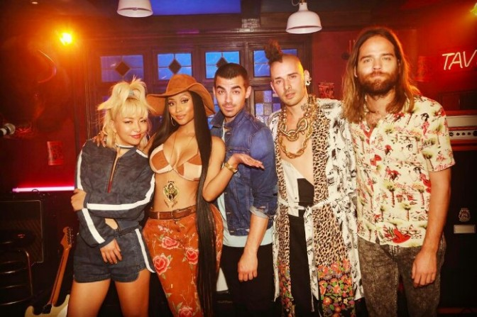 "BTS of DNCE & Nicki Minaj's Upcoming ""Kissing Strangers"" Video"