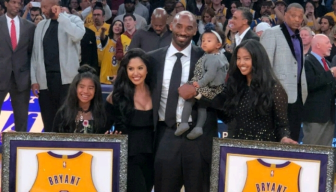 Kobe Bryant Watches No. 8 & 24 Get Retired by Lakers