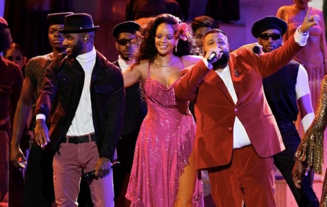 "DJ Khaled, Rihanna & Bryson Tiller Perform ""Wild Thoughts"" at the GRAMMYs"